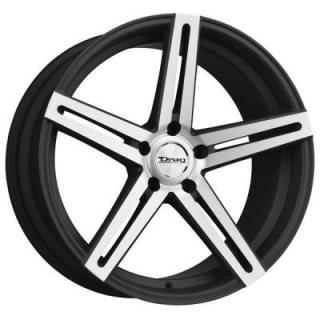 DRAG WHEELS  DR60 FLAT BLACK RIM with MACHINED FACE