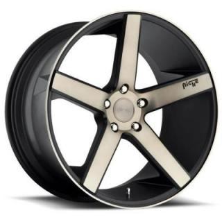 SPECIAL BUY WHEELS  NICHE MILAN M134 BLACK RIM with MACHINED FACE and DARK TINT PPT DISPLAY SET 1 SET ONLY