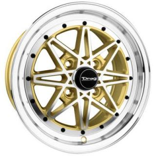 DR20 GOLD RIM MACHINED FACE by DRAG WHEELS