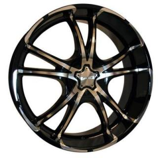 SPECIAL BUY WHEELS  FORTE F50 TWISTED BLACK RIM with MIRROR FACE PPT DISPLAY SET 1 SET ONLY