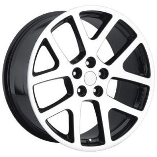 FACTORY REPRODUCTIONS WHEELS  JEEP VIPER STYLE 64 BLACK MACHINED FACE RIM