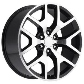 FACTORY REPRODUCTIONS WHEELS  GMC SIERRA 2014 STYLE 44 BLACK MACHINED FACE RIM