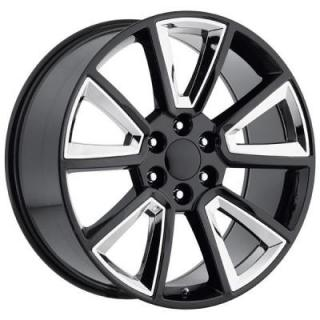 FACTORY REPRODUCTIONS WHEELS  CHEVY 2015 TAHOE STYLE 57 BLACK RIM with CHROME INSERTS