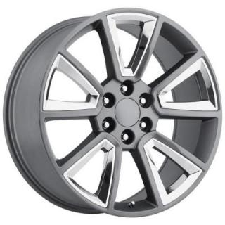 FACTORY REPRODUCTIONS WHEELS  CHEVY 2015 TAHOE STYLE 57 GREY RIM with CHROME INSERTS