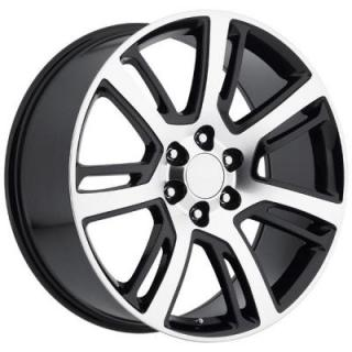 FACTORY REPRODUCTIONS WHEELS  CADILLAC ESCALADE 2015 STYLE 48 BLACK MACHINED FACE RIM