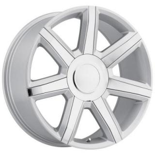 FACTORY REPRODUCTIONS WHEELS  CADILLAC ESCALADE LUXURY 2015 STYLE 56 SILVER RIM with CHROME INSERTS
