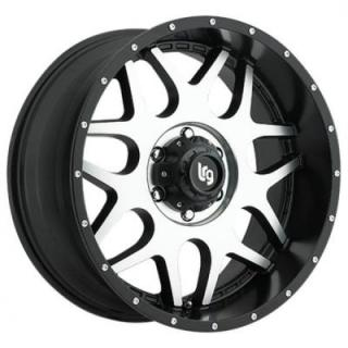 LRG WHEELS  104 SPLITS BLACK RIM with MACHINED FACE