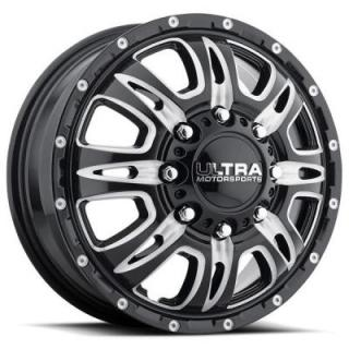 ULTRA WHEELS   PREDATOR DUALLY 049 GLOSS BLACK FRONT RIM with MILLED ACCENTS