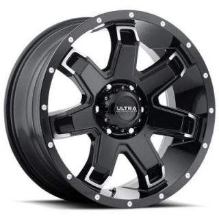 BENT-7 209 GLOSS BLACK RIM with DIAMOND CUT ACCENTS by ULTRA WHEELS