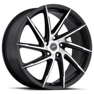 PLATINUM WHEELS  HAWK 433 SATIN BLACK RIM with DIAMOND CUT FACE