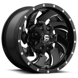 CLEAVER D574 GLOSS BLACK RIM with MILLED ACCENTS by FUEL OFFROAD WHEELS