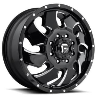 FUEL OFFROAD WHEELS  CLEAVER DUALLY D574 BLACK MILLED FRONT RIM