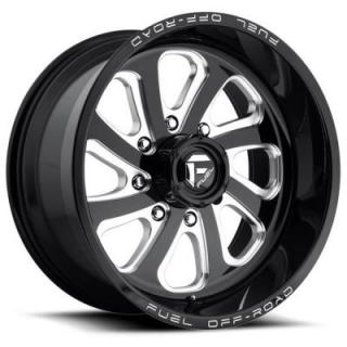 FUEL OFFROAD WHEELS  FLOW D587 GLOSS BLACK RIM with MILLED ACCENTS