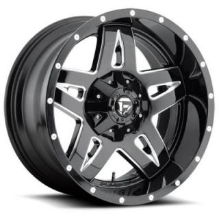 FUEL OFFROAD WHEELS  FULL BLOWN D554 GLOSS BLACK RIM with MILLED ACCENTS