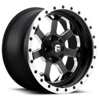 SAVAGE D565 MATTE BLACK RIM with MILLED ACCENTS and MACHINED LIP by FUEL OFFROAD WHEELS