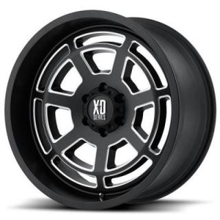 XD SERIES WHEELS  XD824 BONES SATIN BLACK RIM with MILLED ACCENTS