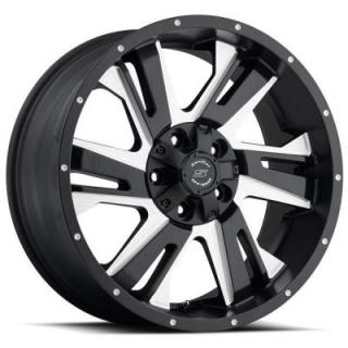 SENDEL WHEELS   SENDEL S36 NIGHT HAWK BLACK RIM with MILLED ACCENTS