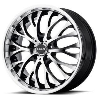 HELO WHEELS  HE890 GLOSS BLACK RIM with MACHINED FACE