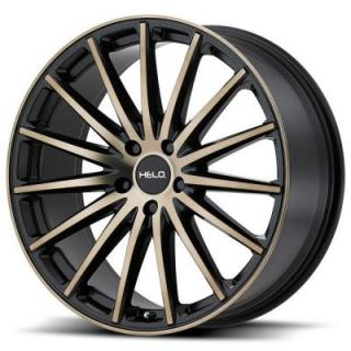 HELO WHEELS  HE894 SATIN BLACK RIM with MACHINED FACE and TINTED CLEAR