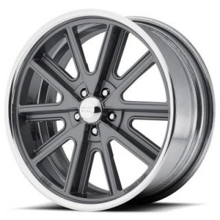 VN407 SHELBY COBRA SL MAG GREY CENTER RIM with POLISHED BARREL by AMERICAN RACING WHEELS