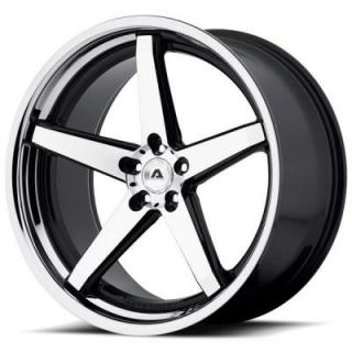 ADVENTUS WHEELS  AVS-2 GLOSS BLACK RIM with MACHINED FACE and SS LIP