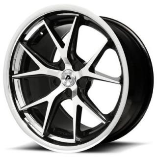 ADVENTUS WHEELS  AVS-3 GLOSS BLACK RIM with MACHINED FACE and SS LIP