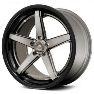 AVS-2 BLACK RIM with TITANIUM FACE and BLACK LIP by ADVENTUS WHEELS