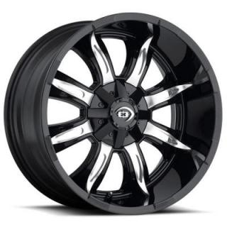 MANIC 423 OFF-ROAD GLOSS BLACK RIM with MACHINED FACE from VISION WHEELS