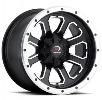 VISION WHEELS   COMMANDER 548 ATV MATTE BLACK RIM with MACHINED FACE