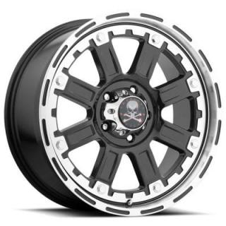 AMERICAN OUTLAW WHEELS  ARMOR BLACK RIM with MACHINED FACE