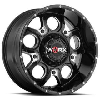 809 REBEL GLOSS BLACK RIM with MILLED ACCENTS by WORX WHEELS