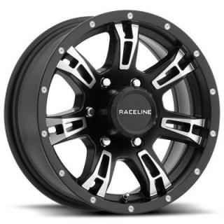 RACELINE WHEELS   840 TRAILER ARSENAL BLACK RIM with MACHINED ACCENTS