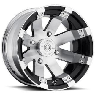 VISION WHEELS   BUCKSHOT 158 ATV GLOSS BLACK RIM with MACHINED FACE