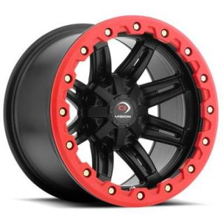 VISION WHEELS   FIVE-FIFTY ONE 551 ATV MATTE BLACK RIM with RED LIP ARMOR