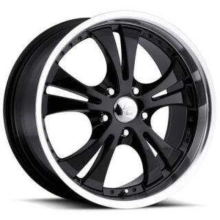 VISION WHEELS   SHOCKWAVE 539 FWD GLOSS BLACK RIM with MACHINED LIP and CHROME CAP