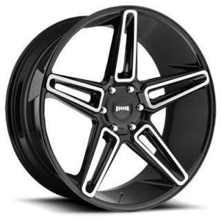 DUB WHEELS  LIT S203 GLOSS BLACK RIM with BRUSHED FACE