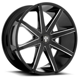 PUSH S109 GLOSS BLACK RIM with MILLED SPOKES from DUB WHEELS