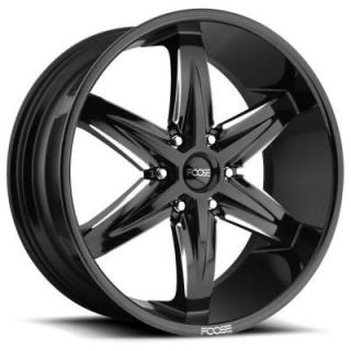 FOOSE WHEELS  SLIDER F162 GLOSS BLACK RIM with MILLED ACCENTS