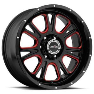 VISION WHEELS   FURY 399 RWD OFF-ROAD GLOSS BLACK RIM with RED TINT WINDOWS
