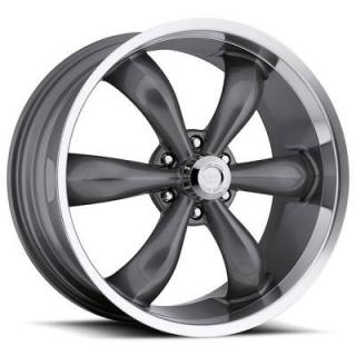 VISION WHEELS   LEGEND 6 TYPE 142 RWD GUNMETAL RIM with MACHINED LIP