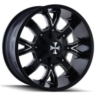 CALI OFF-ROAD WHEELS  DIRTY 9104 SATIN BLACK RIM with MILLED SPOKES