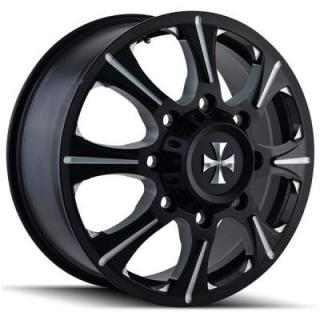 BRUTAL 9105 DUALLY BLACK FRONT RIM with MILLED SPOKES by CALI OFF-ROAD WHEELS