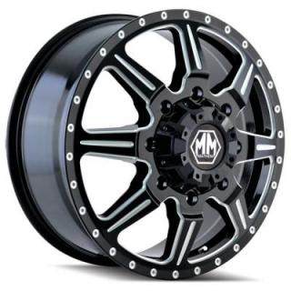 MONSTIR DUALLY BLACK FRONT RIM with MILLED SPOKES by MAYHEM WHEELS