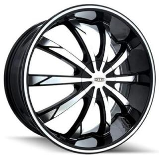 DIP WHEELS  SLACK D66 BLACK RIM with MACHINED FACE and RING
