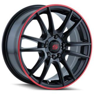 SACCHI WHEELS  S77 BLACK RIM with RED RING