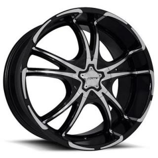 FORTE WHEELS   F50 TWISTED BLACK RIM with MIRROR FACE