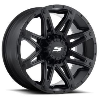 SENDEL WHEELS   SENDEL S35 RECON-8 MATTE BLACK RIM with BLACK BOLTS
