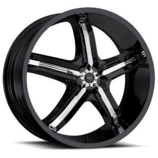 SPECIAL BUY WHEELS  MILANNI BEL AIR 5 459 FWD GLOSS BLACK RIM with CHROME INSERTS DISPLAY SET 1 SET ONLY - SOLD AS IS