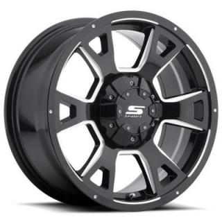 SPECIAL BUY WHEELS  SENDEL S32 SPOTTER GLOSS BLACK RIM with MILLED ACCENTS DISPLAY SET 1 SET ONLY - SOLD AS IS
