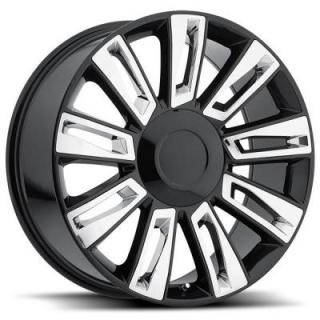 FACTORY REPRODUCTIONS WHEELS  CADILLAC ESCALADE OPTION 3 2015 STYLE 58 BLACK RIM with CHROME INSERTS